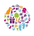 family icons in circle vector image vector image
