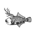 fantastic deer fish animal engraving vector image vector image