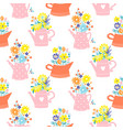 flowers in watering can vintage colors seamless vector image