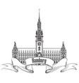 hamburg landmark town hall germany europe hand vector image vector image