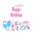 happy birthday holiday card with flags stars vector image vector image