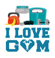 i love gym fitness sport card vector image vector image