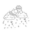 kid on clouds cartoon in black and white vector image