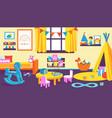 kids room cartoon kindergarten interior vector image