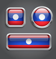 Laos flag glass buttons vector image vector image