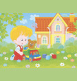 little boy with a toy truck on a lawn vector image