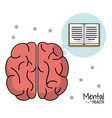mental health brain book learn design vector image vector image