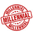 millennial red grunge stamp vector image vector image