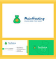 money bag logo design with tagline front and vector image vector image