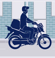 online shopping motorcycle food delivery vector image vector image