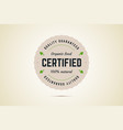 organic food certified sign quality guaranteed vector image vector image