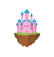 pink stone island castle on white background vector image vector image
