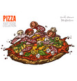 pizza with salami ham cherry tomatoes feta vector image