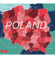 poland country detailed editable map vector image vector image