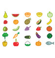 set simple fruits vegetables and fish vector image