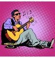 Street Blues musician of African descent with a vector image