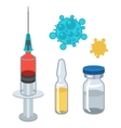 Syringe and vaccine set of medical tools for vector image