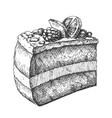 tasty creamy cake sweet dessert vintage vector image