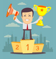 the winner man holding winner s trophy award and vector image vector image
