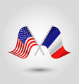 two crossed american and french flags vector image vector image