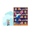young man in library searching books on shelves vector image