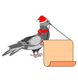 A Christmas dove with a big blank paper in his bea vector image vector image