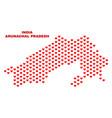arunachal pradesh state map - mosaic of heart vector image vector image