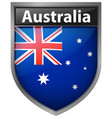 australia flag on badge design vector image vector image