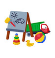 baby toys set pyramid easel truck duck cute vector image vector image