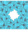 blue geranium flowers round frame vector image vector image