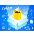 bright delivery box and coffee on blue backg vector image