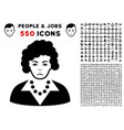 brunette lady icon with bonus vector image vector image