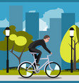 businessman riding on the bike and hurrying to vector image