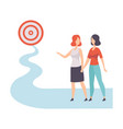 businesswomen walking to path towards to target vector image vector image