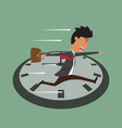 cartoon businessman running on clock jumps over vector image