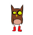 cartoon owl in red shoes vector image vector image