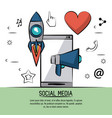colorful poster of social media with icons rocket vector image vector image