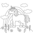 coloring book with a beautiful unicorn in a meadow