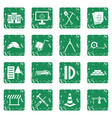 construction icons set grunge vector image vector image