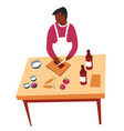 cooking hobculinary man at kitchen and dish vector image vector image