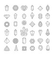 crystal isolated icons jewel or treasure outline vector image