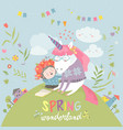 cute girl hugging unicorn spring wonderland vector image vector image