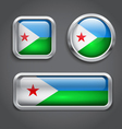 Djibouti flag glass buttons vector image vector image