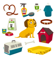 Dog care object set items and stuff cartoon vector image vector image