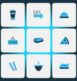 eating icons colored set with exit sign kebab vector image