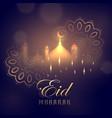 eid mubarak greeting card design with glowing vector image vector image