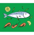 Fish and shrimps on green backgruond vector image vector image