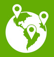 globe and map pointers icon green vector image vector image