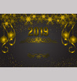 gold and black background with snowflake and ball vector image