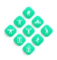 gym fitness exercises icons set vector image vector image